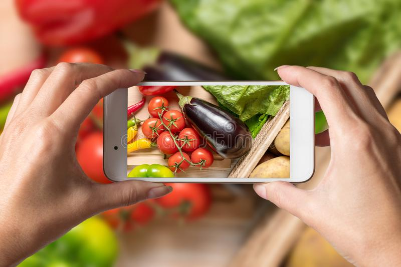 Woman hands taking a photo of colorful vegetables and noodles on wooden background. Food concept royalty free stock photography