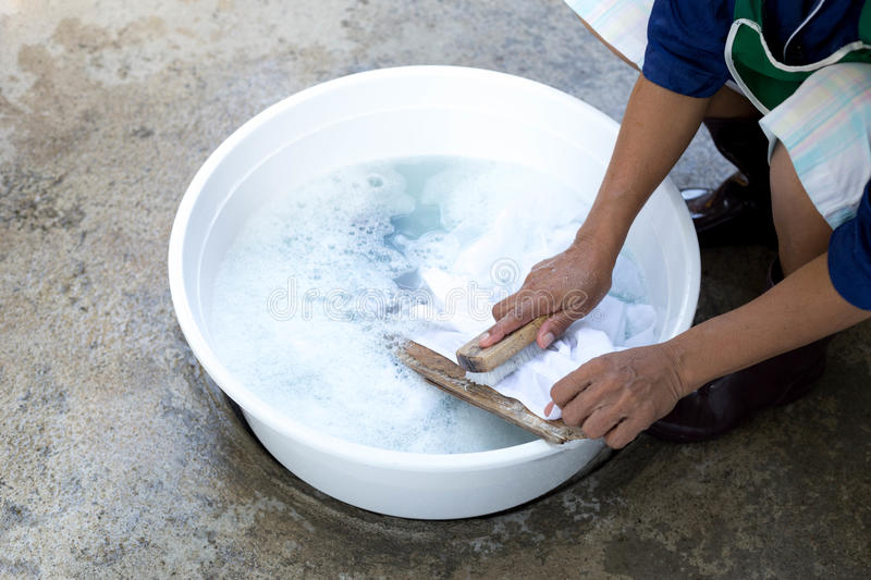 Hands Wash Stain Of Dirty Clothes Stock Photo Image Of