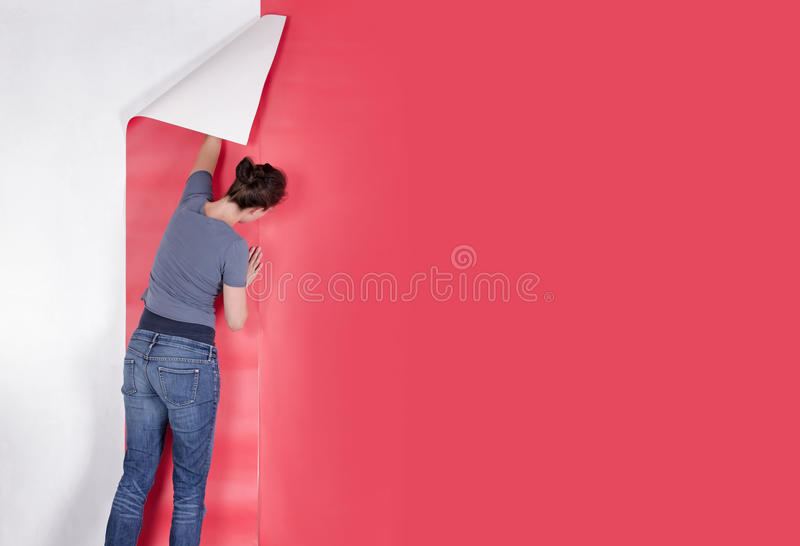Woman hanging wallpaper. Woman hanging red wallpaper on white wall. Decorating or papering stock images