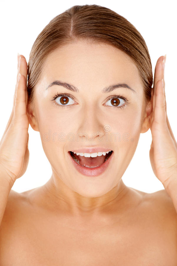 Woman with a happy excited expression stock images