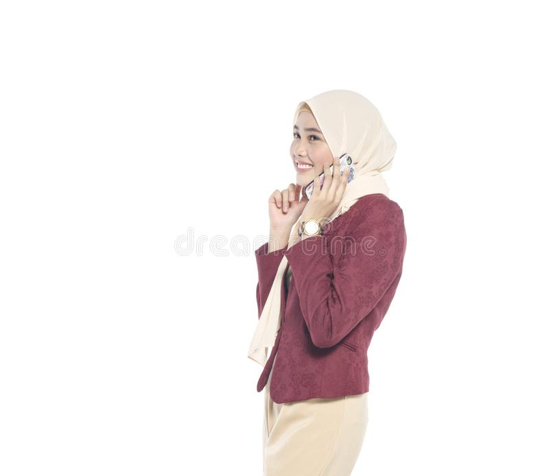 woman with happy face,make a phone call stock photos