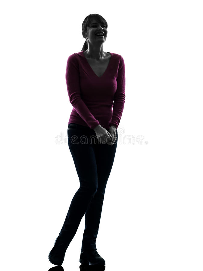 Woman happy laughing full length silhouette stock photo
