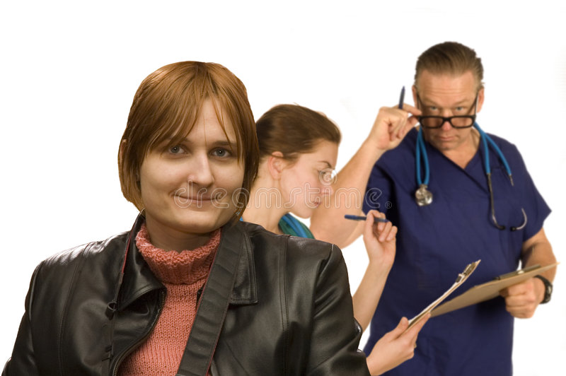 Woman happy with medical check royalty free stock photo