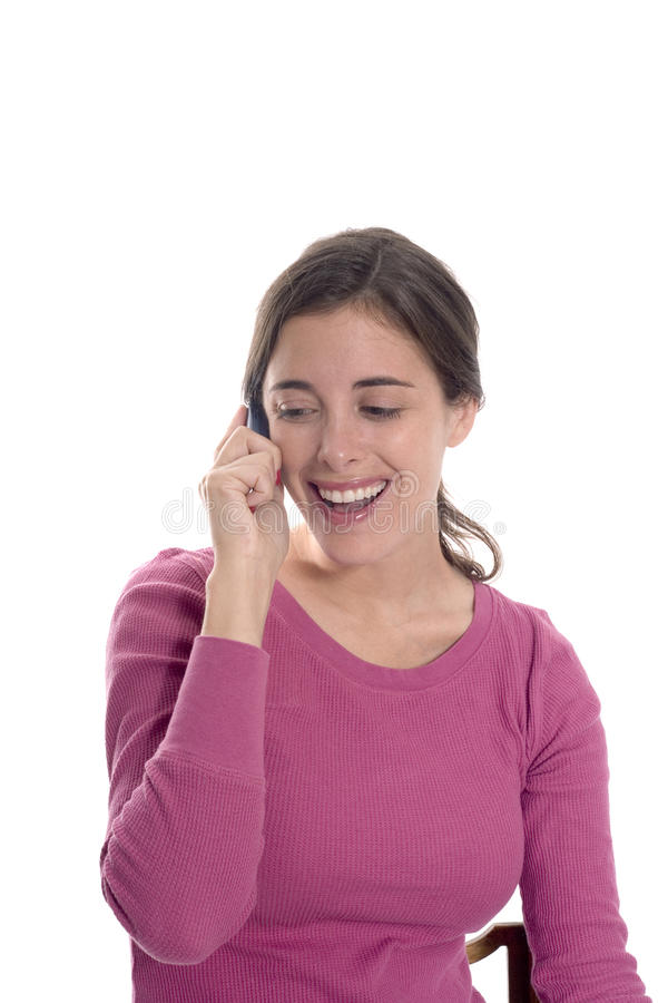 Woman happy on phone stock image