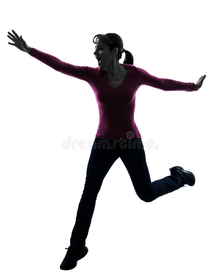 Download Woman Happy Running Jumping Silhouette Stock Photo - Image: 30951758
