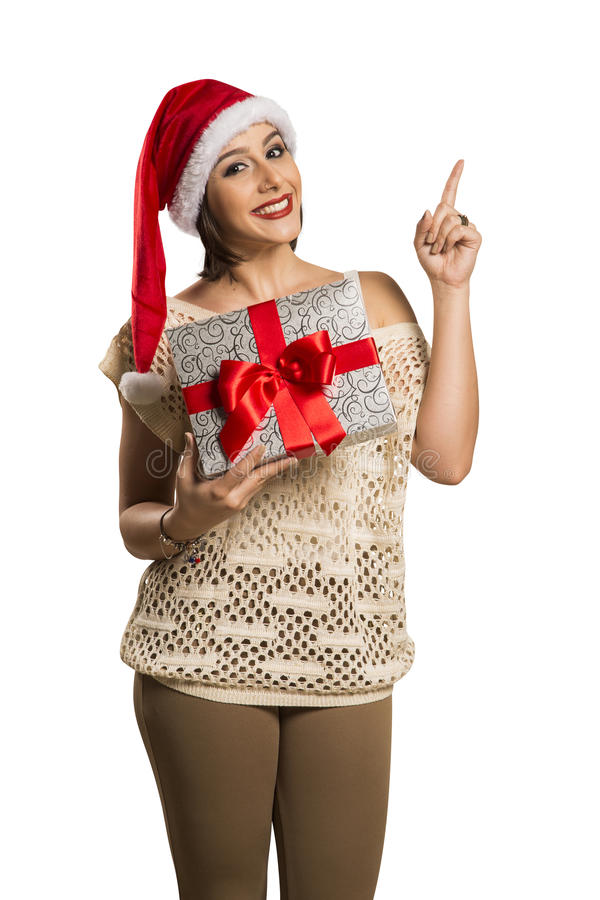 Woman happy smile point finger showing side empty copy space, yo royalty free stock photo