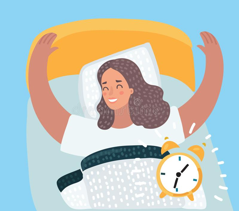 Woman happy waking up on sunny new day. Vector cartoon illustration of Beautiful woman happy waking up on sunny new day in the bed. Sounds alarm clock stock illustration