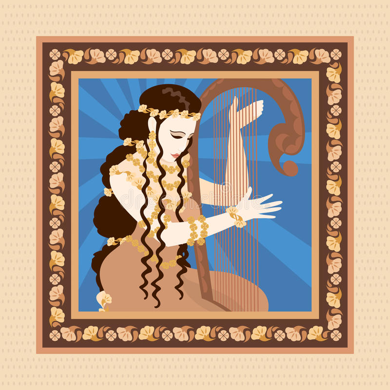 Download Woman with harp stock vector. Image of east, greek, decoration - 11408262