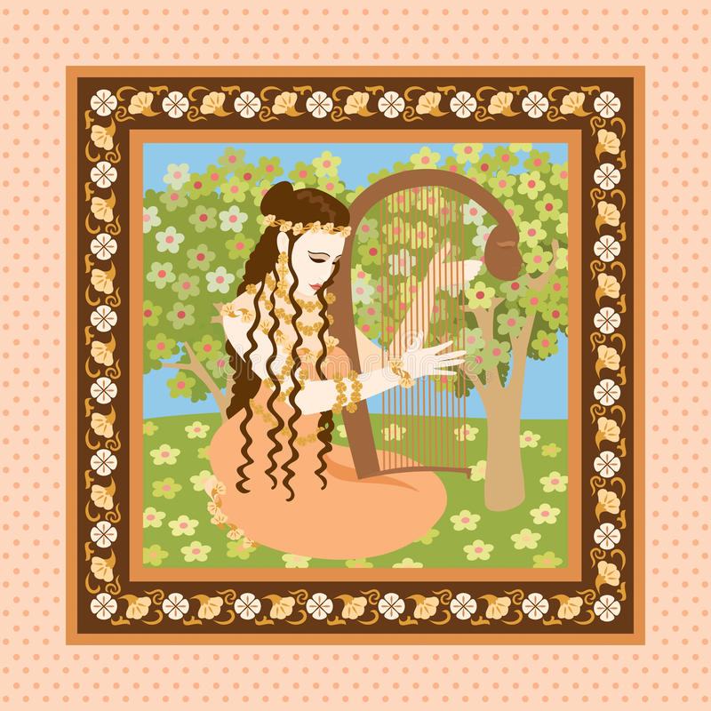Download Woman with harp stock vector. Illustration of dress, music - 11408264