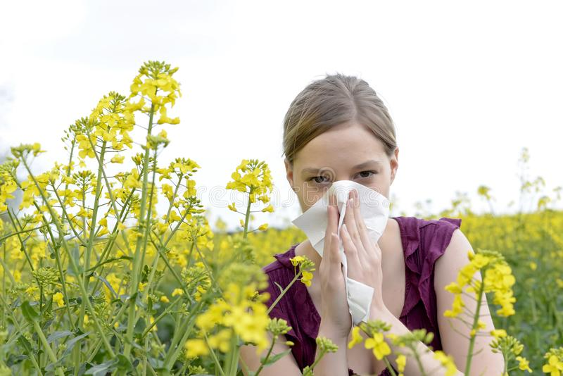 Woman has hay fever. Young woman has hay fever stock images