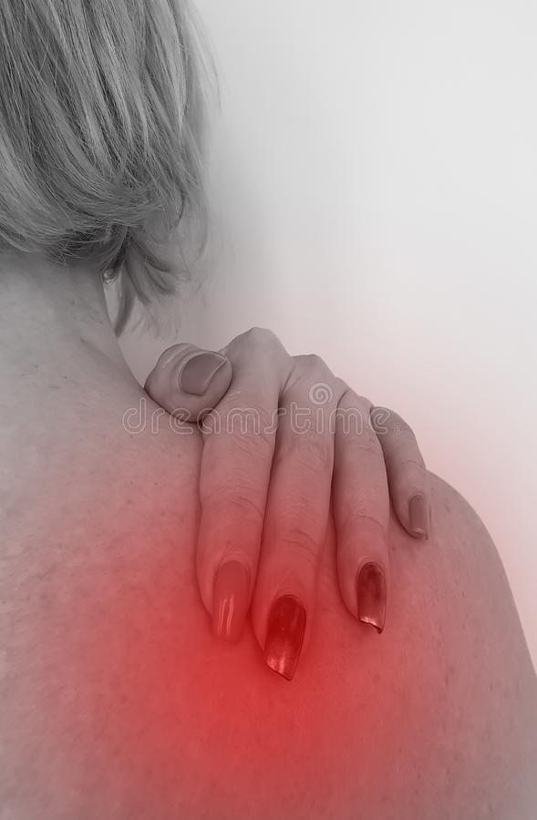 Woman has shoulder symptom treatment concept osteoarthritis problem. Woman has a shoulder symptom treatment healthy problem  osteoarthritis concept royalty free stock image