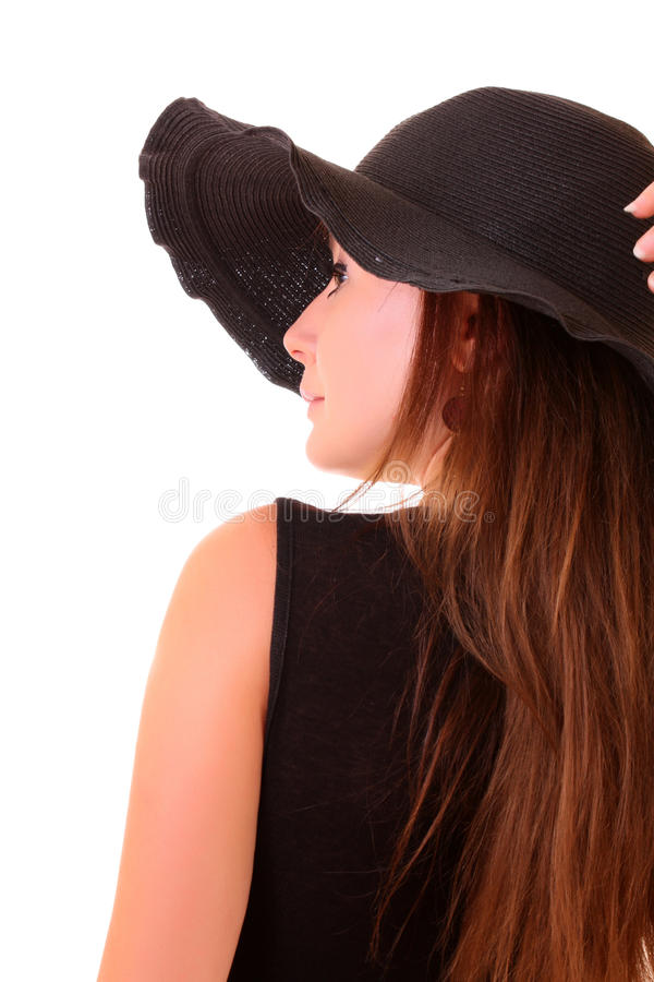 Woman and hat stock photos