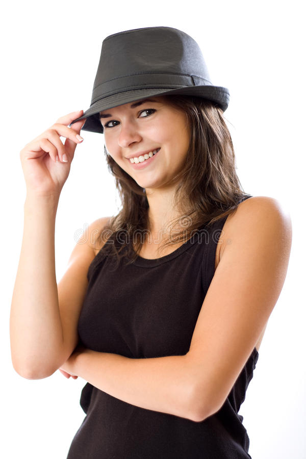 Woman in hat stock image