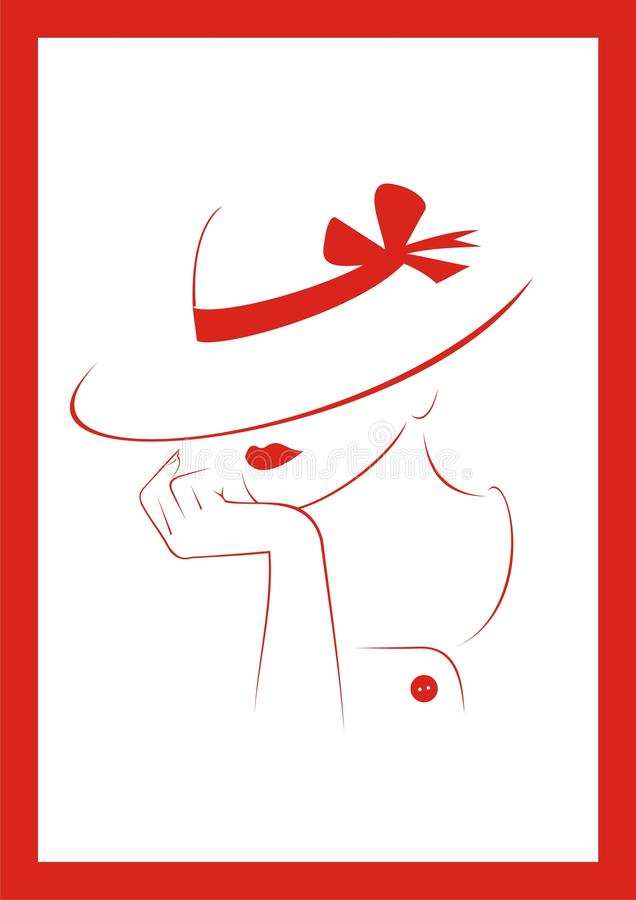 Woman in hat. Vector illustration. Jpeg. EPS