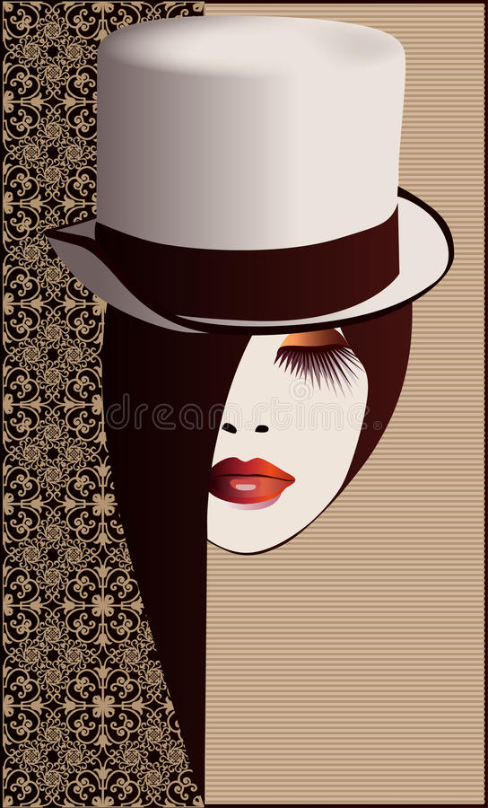 Download Woman in Hat stock vector. Image of beige, eyelashes - 23528663