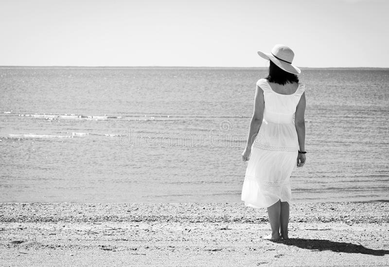 Download Woman with hat stock photo. Image of beach, close, female - 25344752