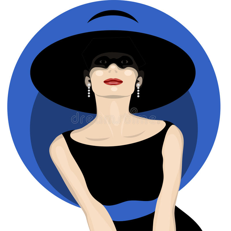 Woman with hat royalty free illustration