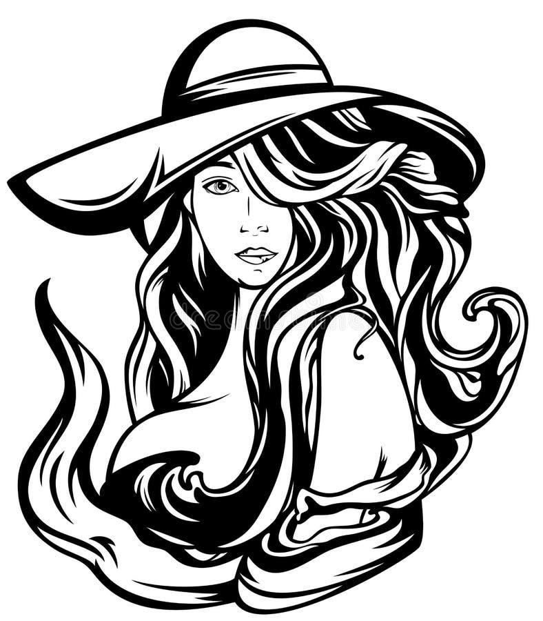 Woman in hat vector stock vector illustration of black for Idea deco en blanco y negro
