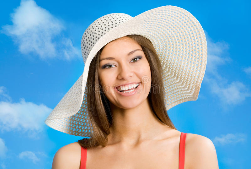 Download Woman with hat stock image. Image of model, female, beach - 31951321