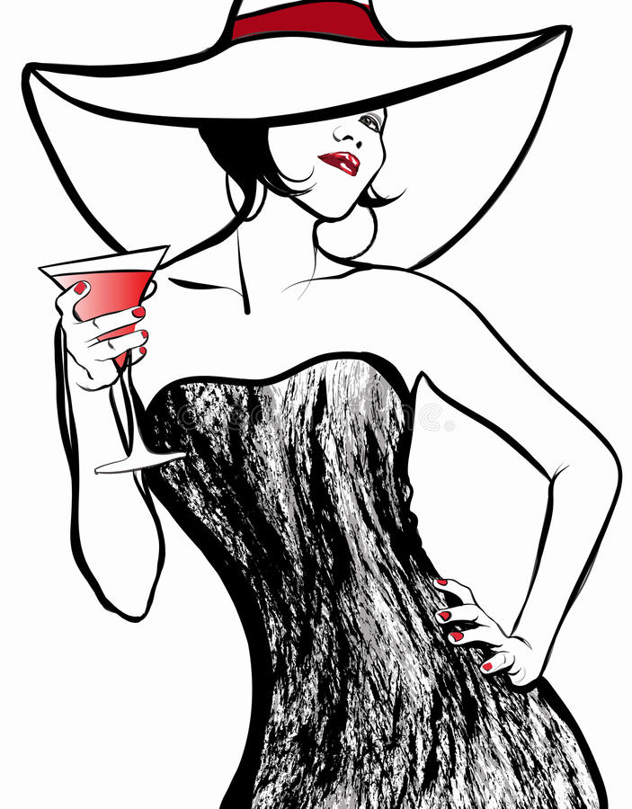Woman with a hat drinking a cocktail stock photos