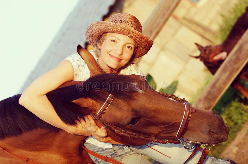 Woman in hat embrace brown horse stock image