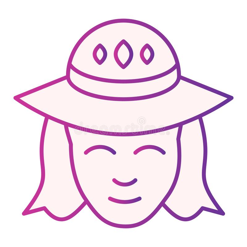 Woman in a hat flat icon. Girl with hat purple icons in trendy flat style. Female face gradient style design, designed stock illustration