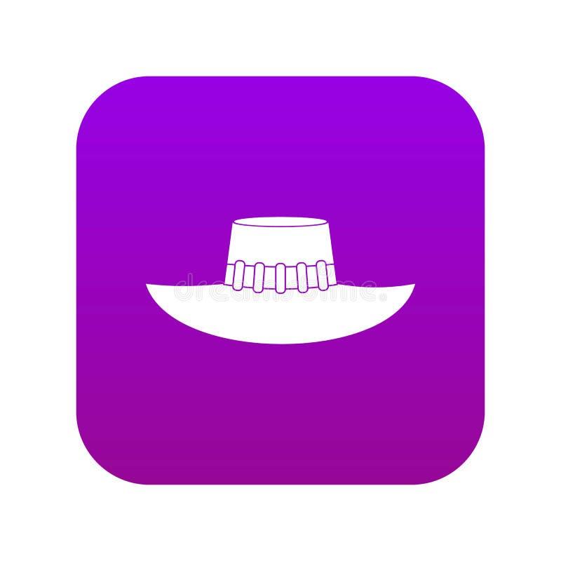 Woman hat icon digital purple royalty free illustration