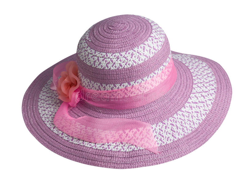 Woman hat isolated on white background .Women`s beach hat . pi. Woman hat isolated on white background .Women`s beach hat . .pink hat stock images