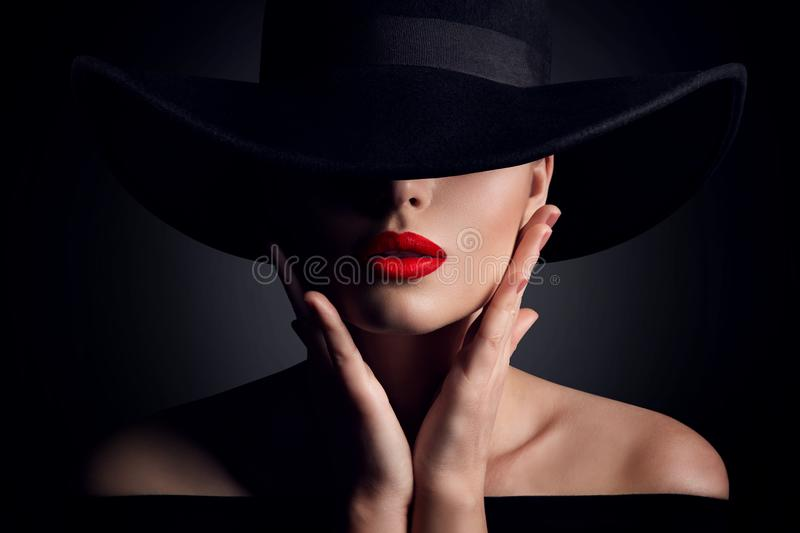 Woman Hat and Lips, Elegant Fashion Model Retro Beauty Portrait in Black stock images