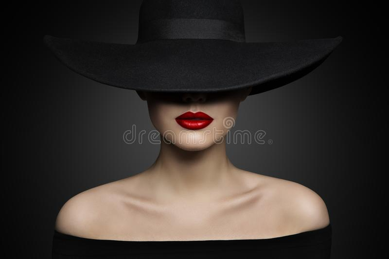 Woman Hat Lips and Shoulder, Elegant Fashion Model in Black Hat stock photography