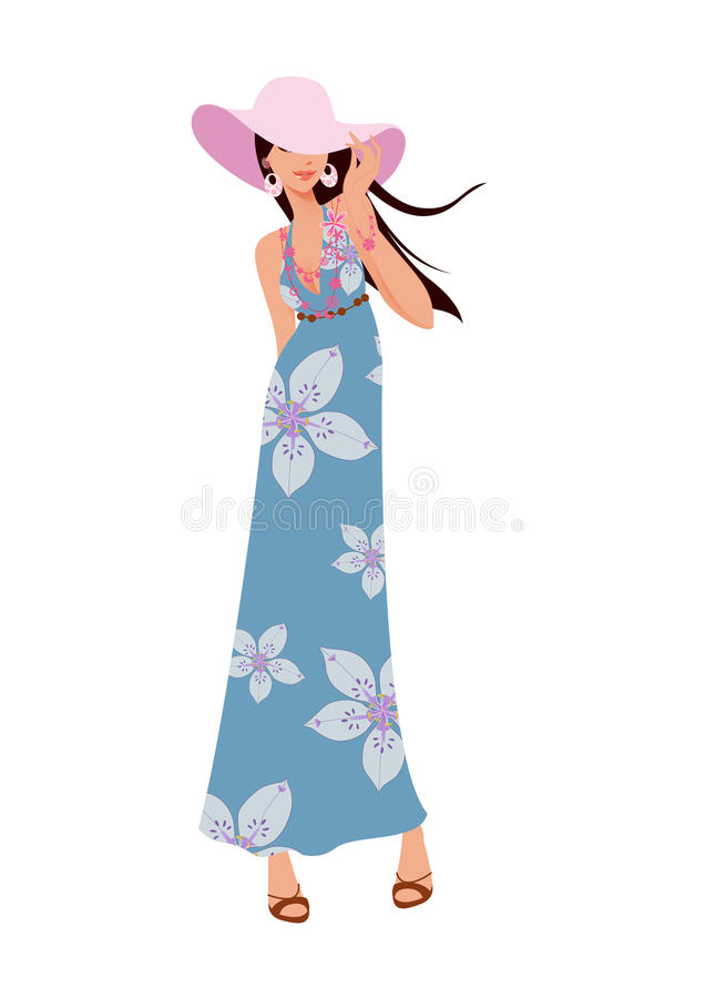 Woman in a hat posing with skirt and sandal. Fashionable woman in a pink hat posing with long green skirt and sandal, isolated, white background, illustration stock illustration