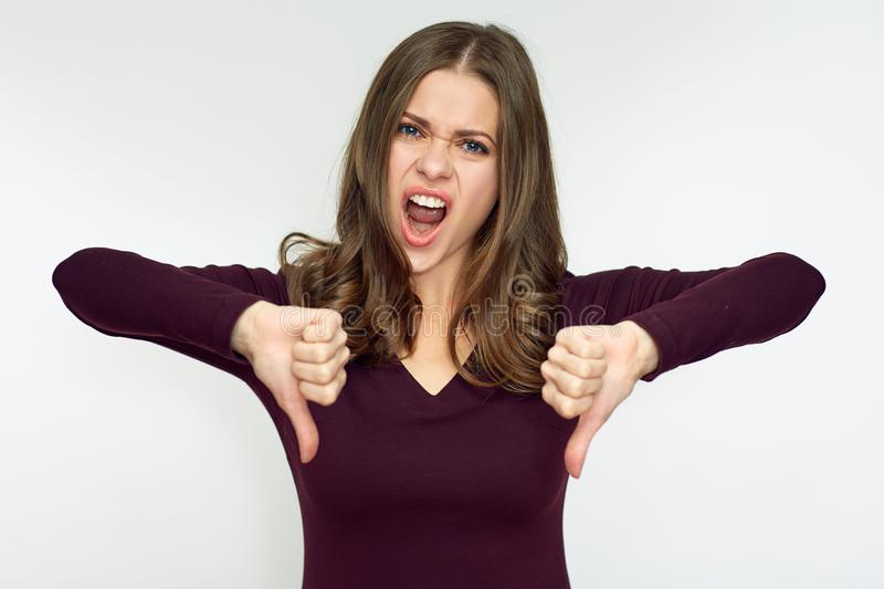 Woman hater doing dislike with thumb down. stock photos