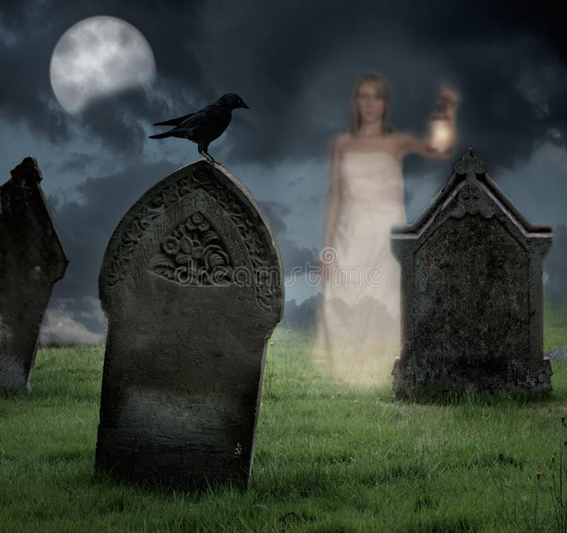 Woman Haunting Cemetery royalty free stock photos
