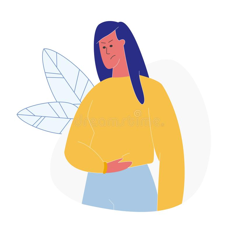 Woman Having Abdominal Pain Flat Illustration. Girl with Angry Face Expression Suffering from Stomachache. Unhappy Female Cartoon Vector Character Holding royalty free illustration