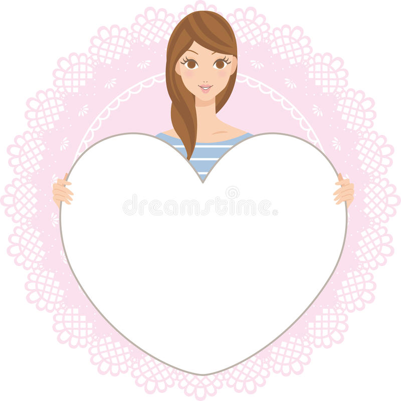 Woman having a board of the heart vector illustration