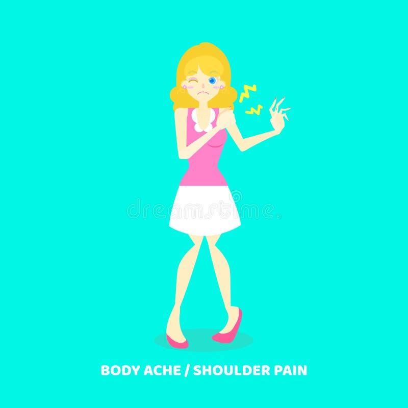 Woman having body ache, shoulder pain, health care disease symptoms concept vector illustration