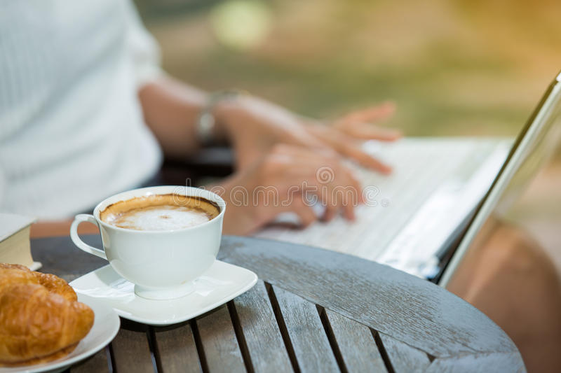 Woman having coffee time royalty free stock image
