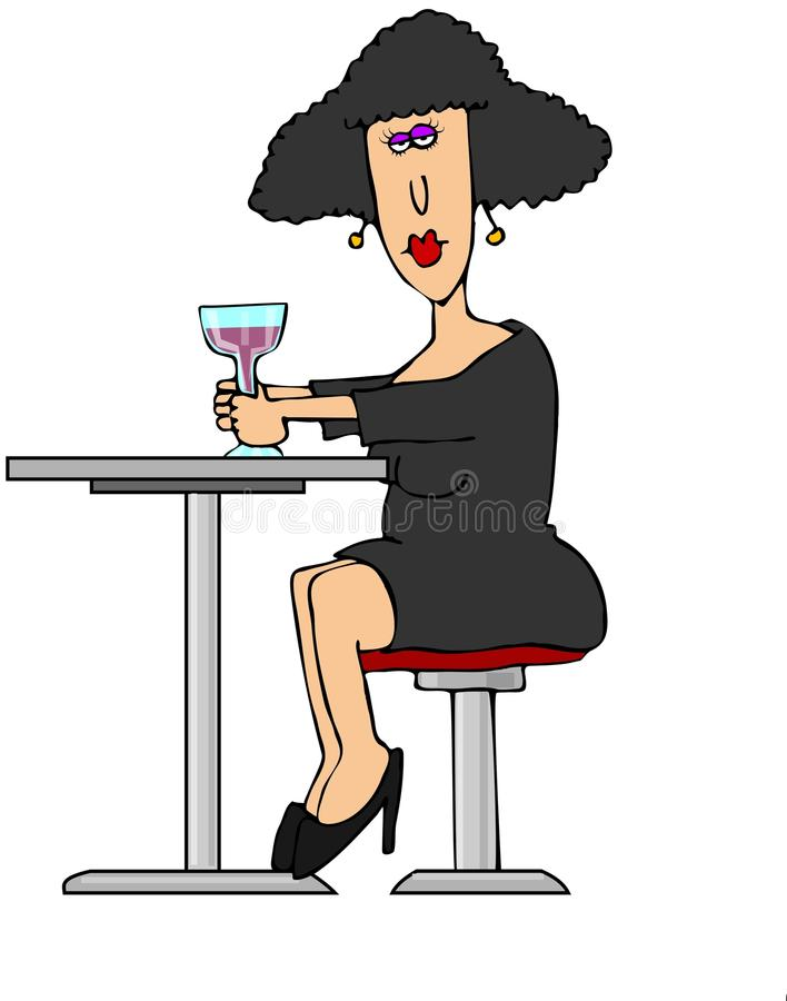 Download Woman having a drink alone stock illustration. Image of wine - 36015270
