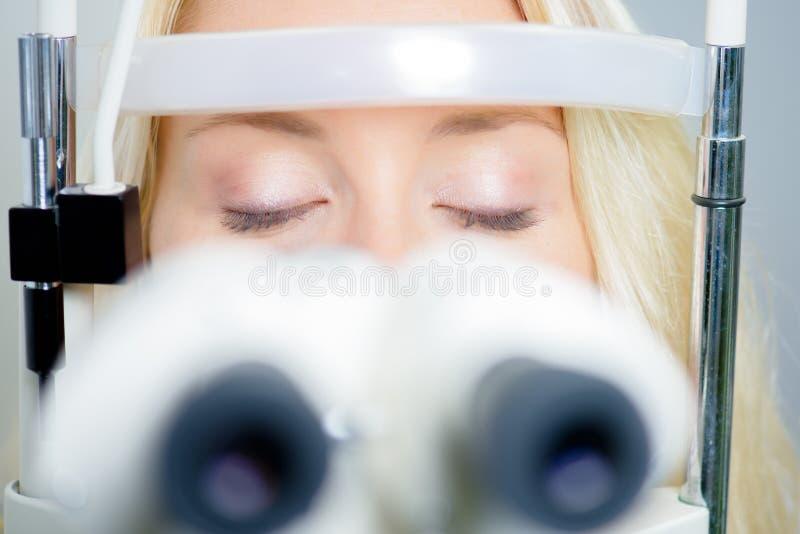 Woman having eye test stock photography