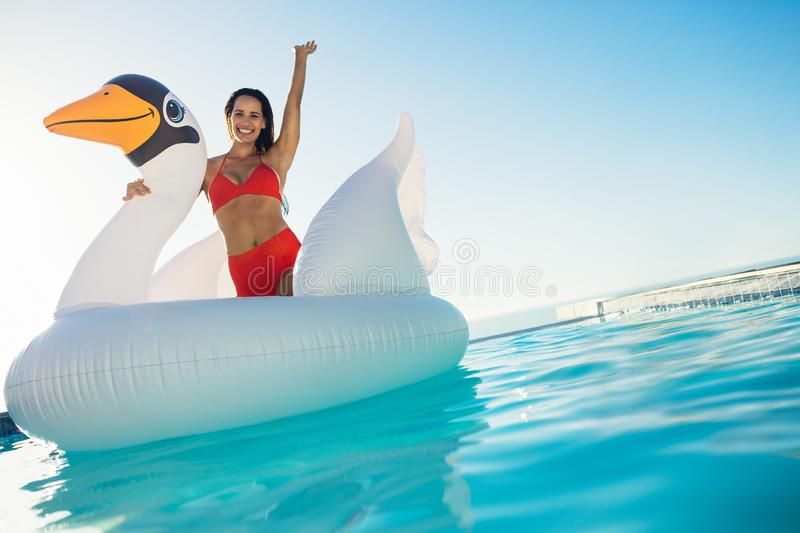 Woman having fun on a giant inflatable swan in pool royalty free stock photography