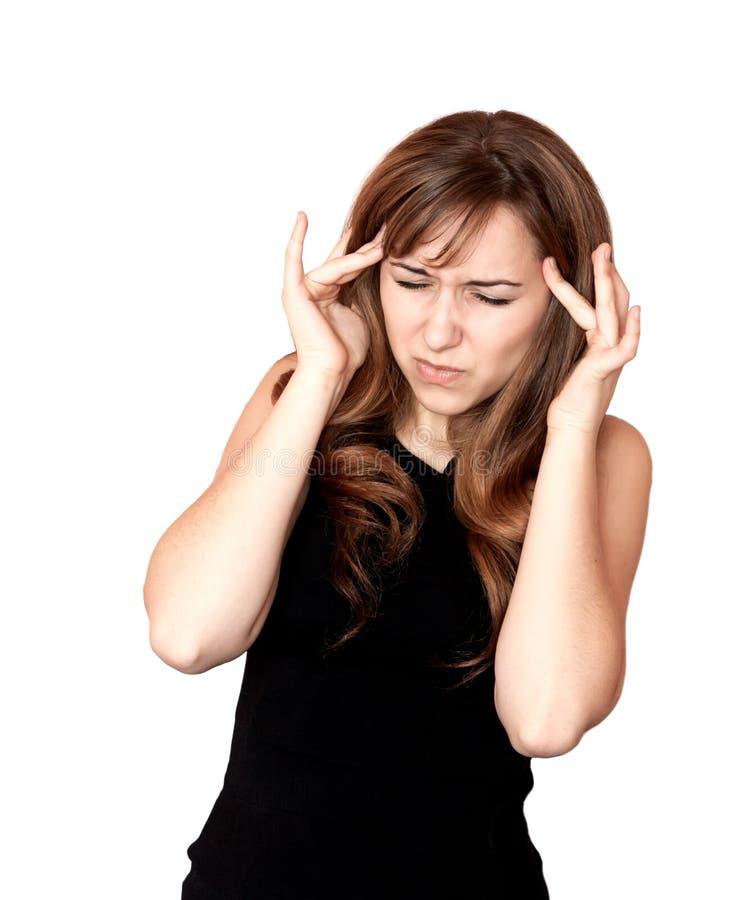 Woman having a headache. stock photo