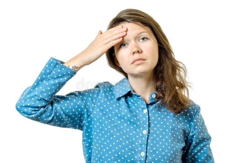 Woman having headache isolated on white royalty free stock photos