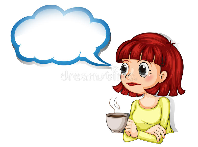 A woman having her cup of coffee with an empty cloud template royalty free illustration