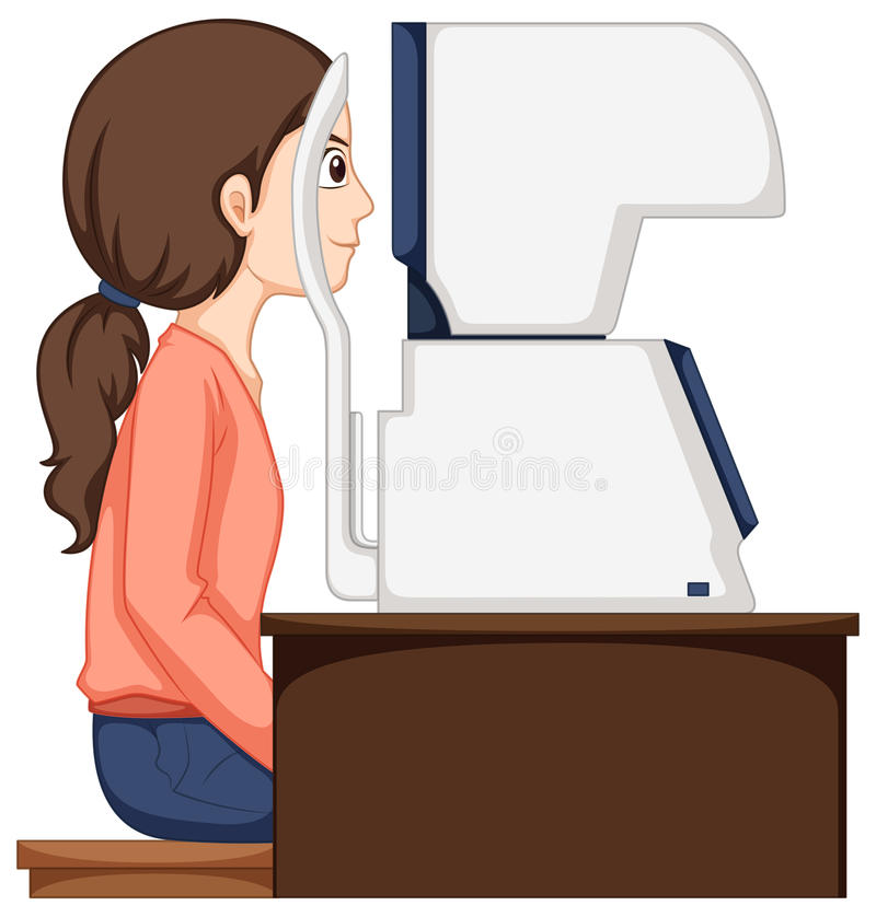 Woman having her eyes checked by machine vector illustration