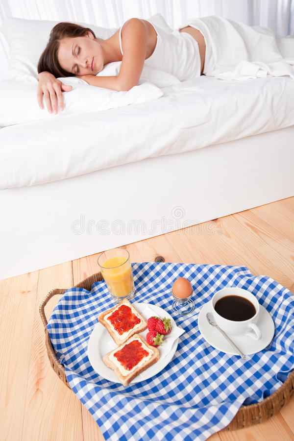 Download Woman Having Homemade Breakfast Lying In Bed Stock Image - Image: 10871221