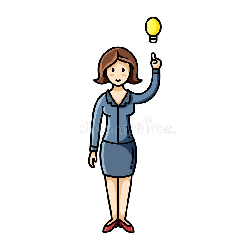Woman having an idea and pointing her finger up to the lightbulb pose. Infographic element. Vector character vector illustration