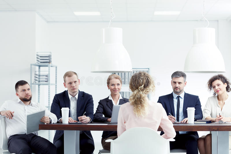 Woman having job interview. Blonde women having interview for a job in corporation stock photos