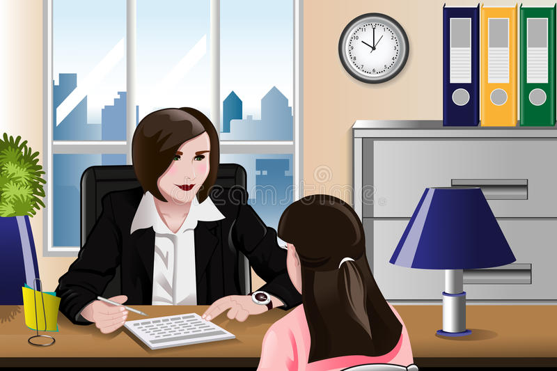 Woman having a job interview stock illustration
