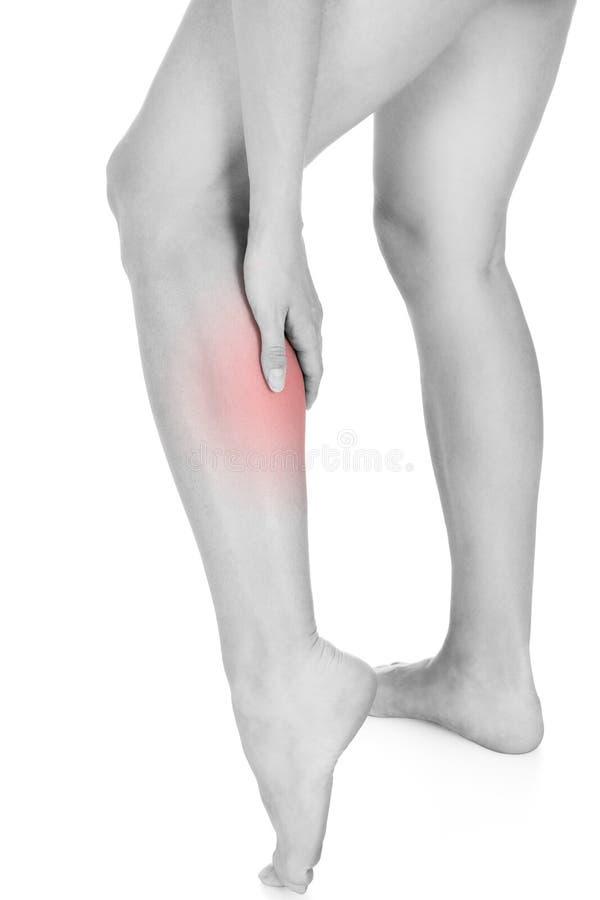 Woman having leg injury stock image