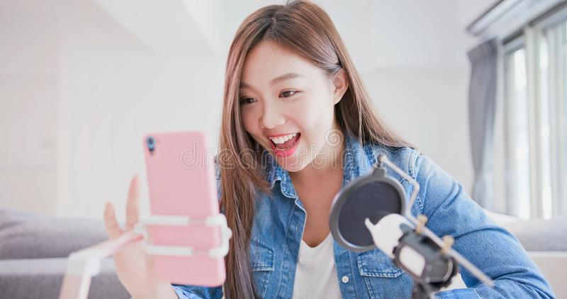 Woman have live stream royalty free stock image